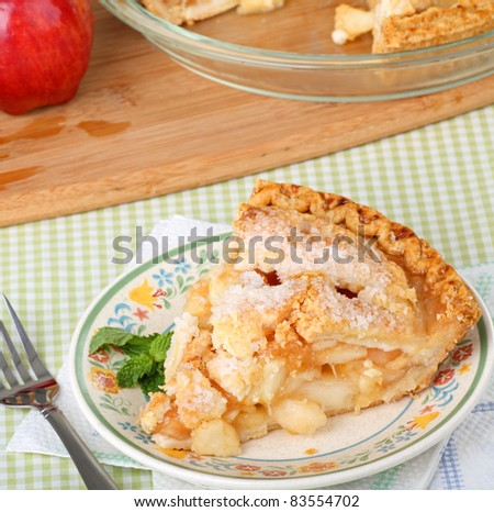 Slice of apple pie on a plate