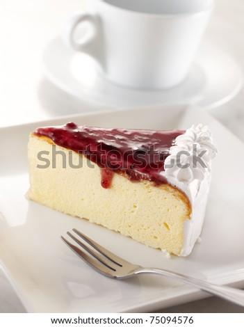 slice of blueberry cheesecake, shallow depth of field