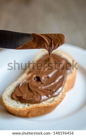 Slice of bread with chocolate cream