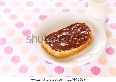 Slice of bread with Chocolate Spread