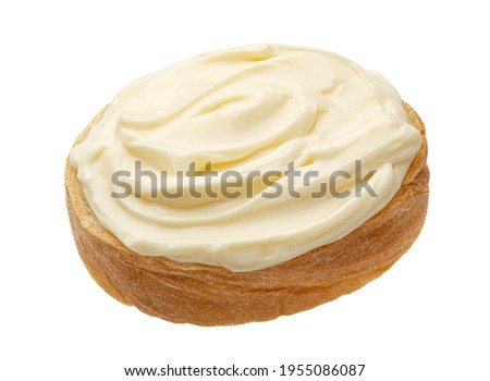 Slice of bread with cream cheese isolated on white background, toast with melted cheese, top view