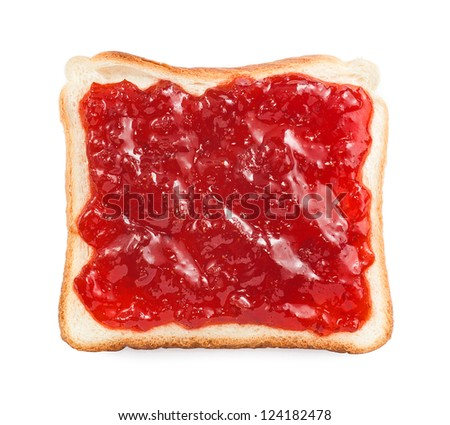 slice of bread with strawberry jam isolated