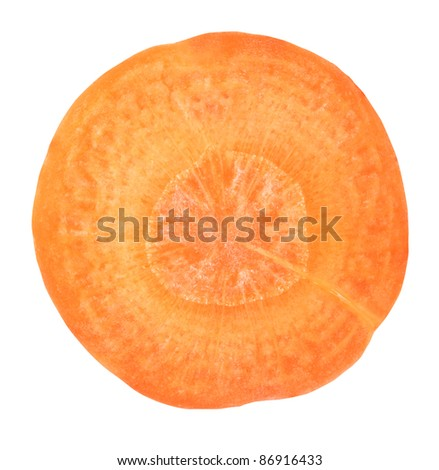 slice of carrot on white background