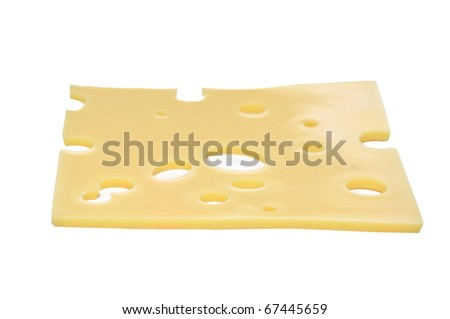 slice of cheese on a white background