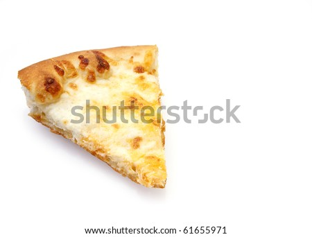 Slice of cheese pizza on white background with reflection and copy space