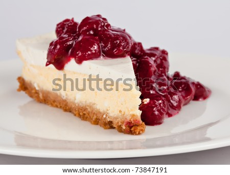 Slice of cheesecake with cherry sauce on top