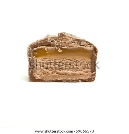 Slice of chocolate caramel candy bar from low perspective isolated on white.