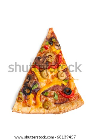 slice of colorful vegetable, mushroom and pepperoni pizza on white background