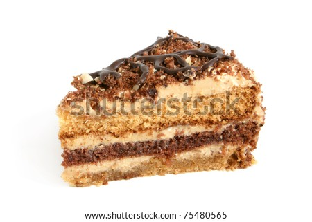Slice of cream cake with chocolate on the white background