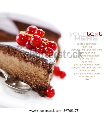 slice of delicious chocolate cake over white (easy removable sample text)