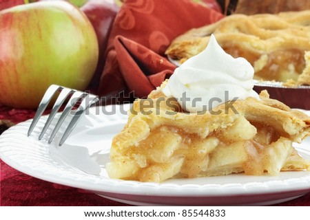 Slice of delicious fresh baked apple pie with whipped cream. Extreme shallow depth of field with selective focus on slice of pie.
