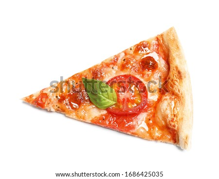 Slice of delicious pizza Margherita isolated on white, top view Stock photo ©