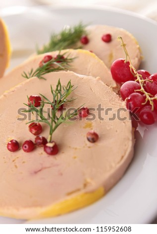 slice of foie gras and redcurrant