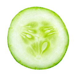 Slice of fresh cucumber isolated on white background.