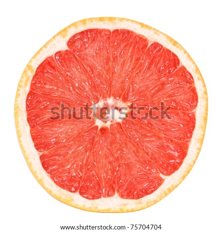 slice of fresh grapefruit isolated on white background with clipping path