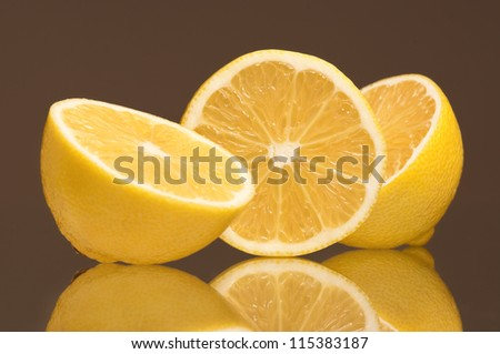 Slice of fresh lemons isolated on grey background
