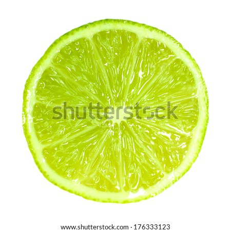 Slice of fresh lime, isolated on white #176333123