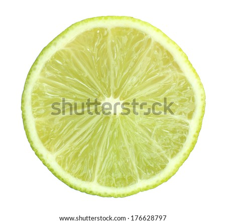 Slice of fresh lime, isolated on white #176628797