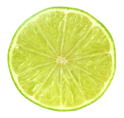 Slice of fresh lime isolated on white background.