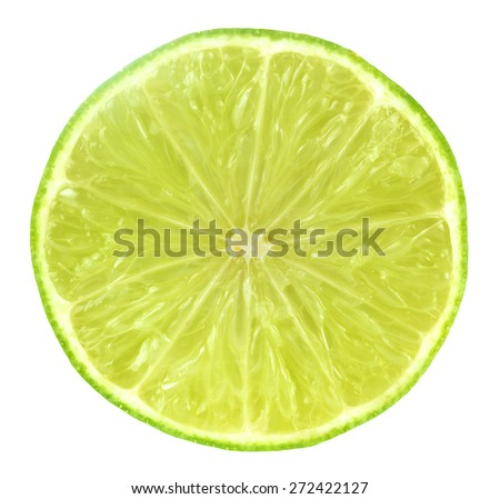 Slice of fresh lime isolated on white background. #272422127