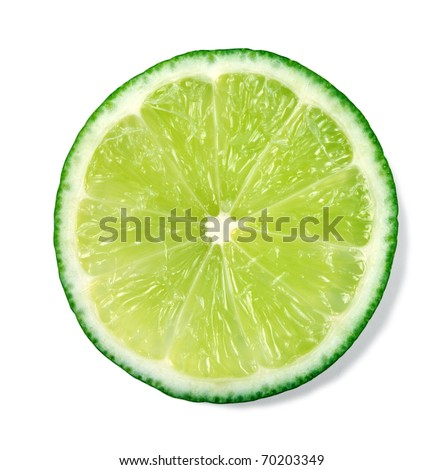 Slice of fresh lime isolated on white background - stock photo