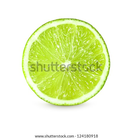 slice of fresh lime on white background #124180918