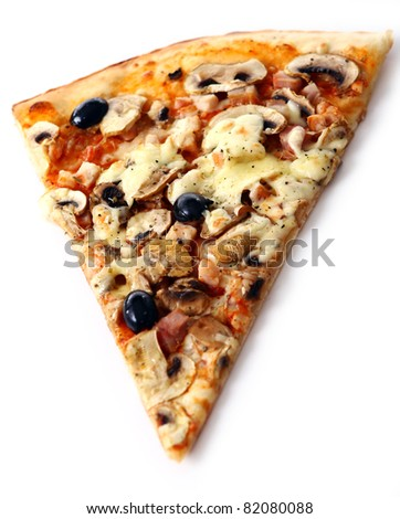 Slice of fresh pizza with olives and mushrooms isolated on white background