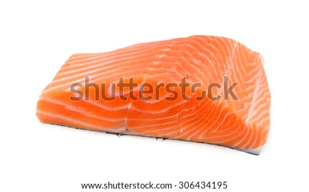 slice of fresh raw salmon on white background