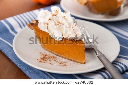Slice of Freshly Baked Pumpkin Pie