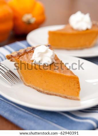Slice of Freshly Baked Pumpkin Pie - stock photo