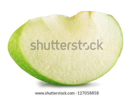 Slice of green apple on a white background.