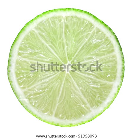 Slice of green lime isolated on white #51958093