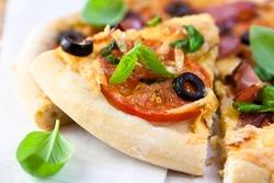 Slice of homemade pizza
