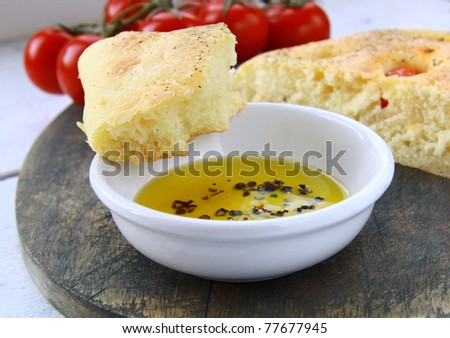 slice of italian focaccia bread with olive  oil