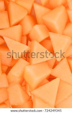 slice of japanese melons, orange melon or cantaloupe melon for background