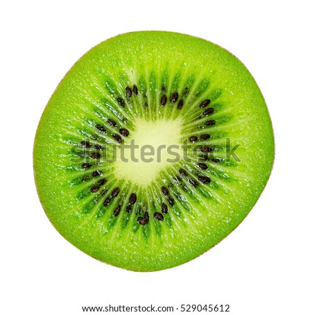 slice of juicy delicious and healthy ripe kiwi, isolated on white background #529045612