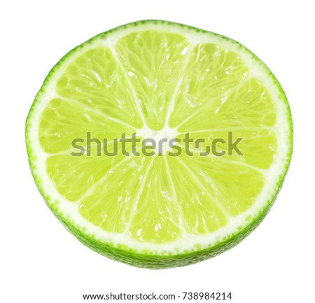 Slice of juicy green lime isolated on white background #738984214