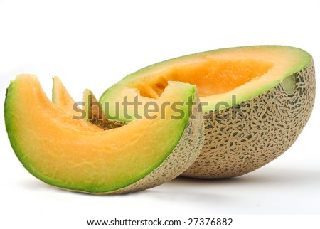 Slice of juicy melon isolated on white