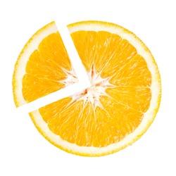 Slice of Juicy Orange in the shape pie chart