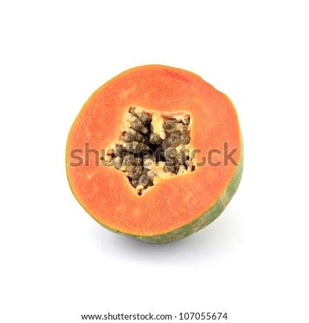 Slice of juicy papaya fruit isolated on white background
