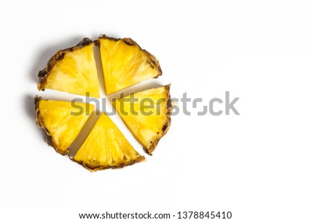 Slice of juicy pineapple in shape of circle pie chart graph. Sector segments. Business parts concept. Isolated white background. Copy space for text.