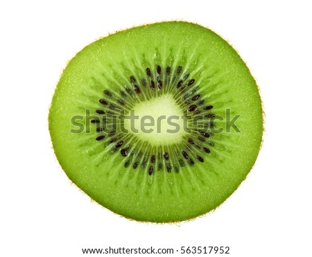Slice of kiwi isolated on white background, top view
