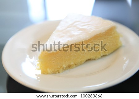 slice of lemon cheese cake