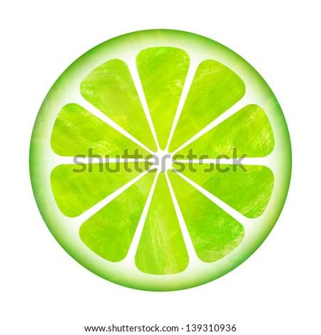 Slice of lemon painting illustration isolated on white background