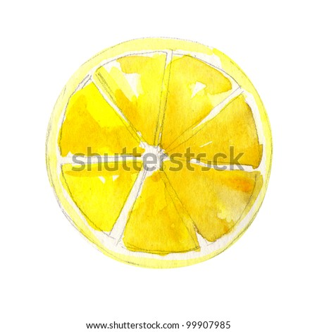slice of lemon. watercolor painting on white background