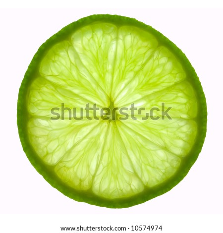 stock photo : Slice of lime, backlit and isolated on white.