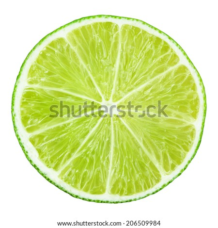 Slice of lime citrus fruit isolated on white with clipping path #206509984