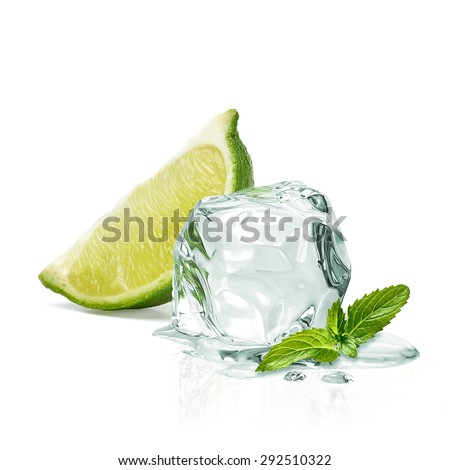 Slice of lime, ice and mint isolated on white background