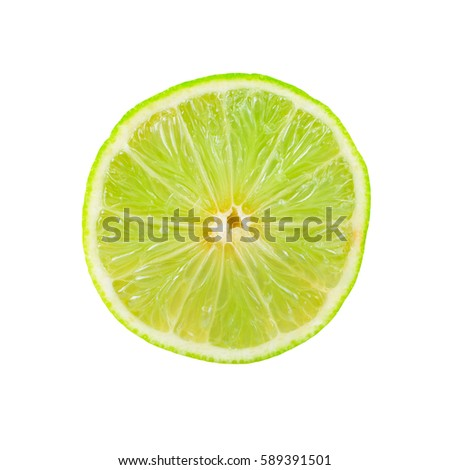 slice of lime isolated on a white background with clipping patch #589391501