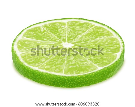Slice of lime isolated on white background #606093320